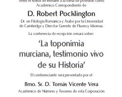 Toma de Posesión como Académico Correspondiente de D. Robert Pocklington
