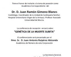 Toma de Posesión como Académico Correspondiente de Dr. D. Juan Ramón Gimeno Blanes