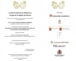 Sesión de ingreso en la Real Academia de Medicina, como Académico Correspondiente, de D. Juan de Dios González Caballero (26.11.2015)