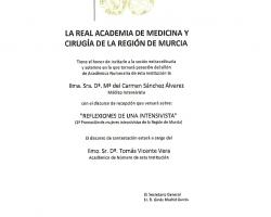 La Real Academia de Medicina y Cirugía de la Región de Murcia, le invita a la Sesión Solemne de ingreso como Académica Numeraria de la Dra. Dª. Mª del Carmen Sánchez Álvarez, con la lectura del discurso