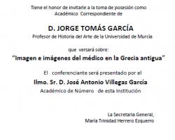 Toma de Posesión como Académico Correspondiente del D. Jorge Tomás García